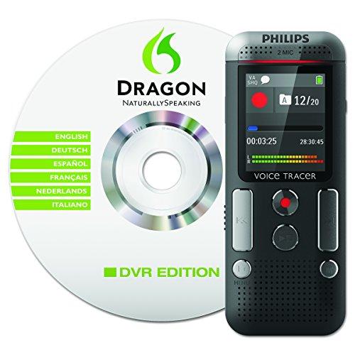 Philips DVT2700 Digitales Diktiergerät (Inkl. Spracherkennungs-Software, kompaktes Aufnahmegerät, mp3 Recorder, Farbdisplay, 4GB Speicher, USB-Anschluss, Plug & Play, Win/Mac/Linux) anthrazit