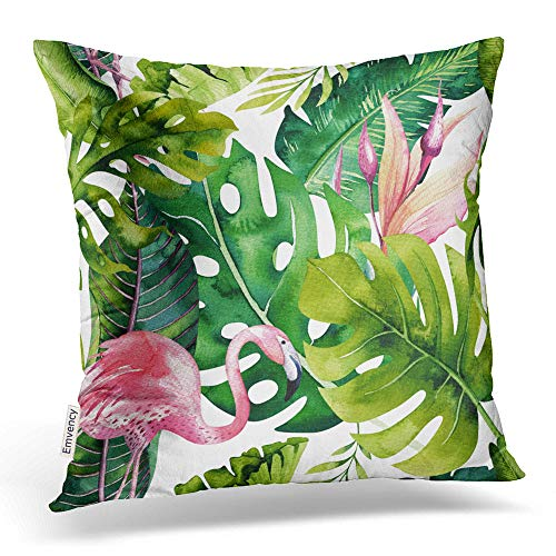 (Emvency Throw Pillow Covers Tropical Isolated Pattern Flamingo Watercolor Tropic Drawing Rose Bird Decor Pillowcases Polyester 20 X 20 Inch Square Hidden Zipper Home Cushion Decorative Pillowcase)