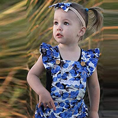 NUWFOR Newborn Infant Baby Girls Floral Print Romper Jumpsuit+Headband Outfits Clothes White
