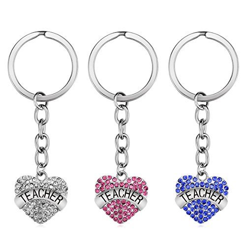 Teacher Appreciation Gift for Women, 3pcs Heart Pendant Teacher Keychain Set, Jewelry Gift for Teachers, Birthday Gift for Teacher Valentines Gifts (Crystal)