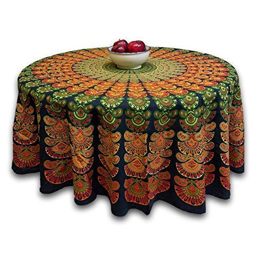 India Arts Tablecloth ~ Several Sizes Available ~ 100% Cotton (TC05006) (Green Peacock Mandala, 72