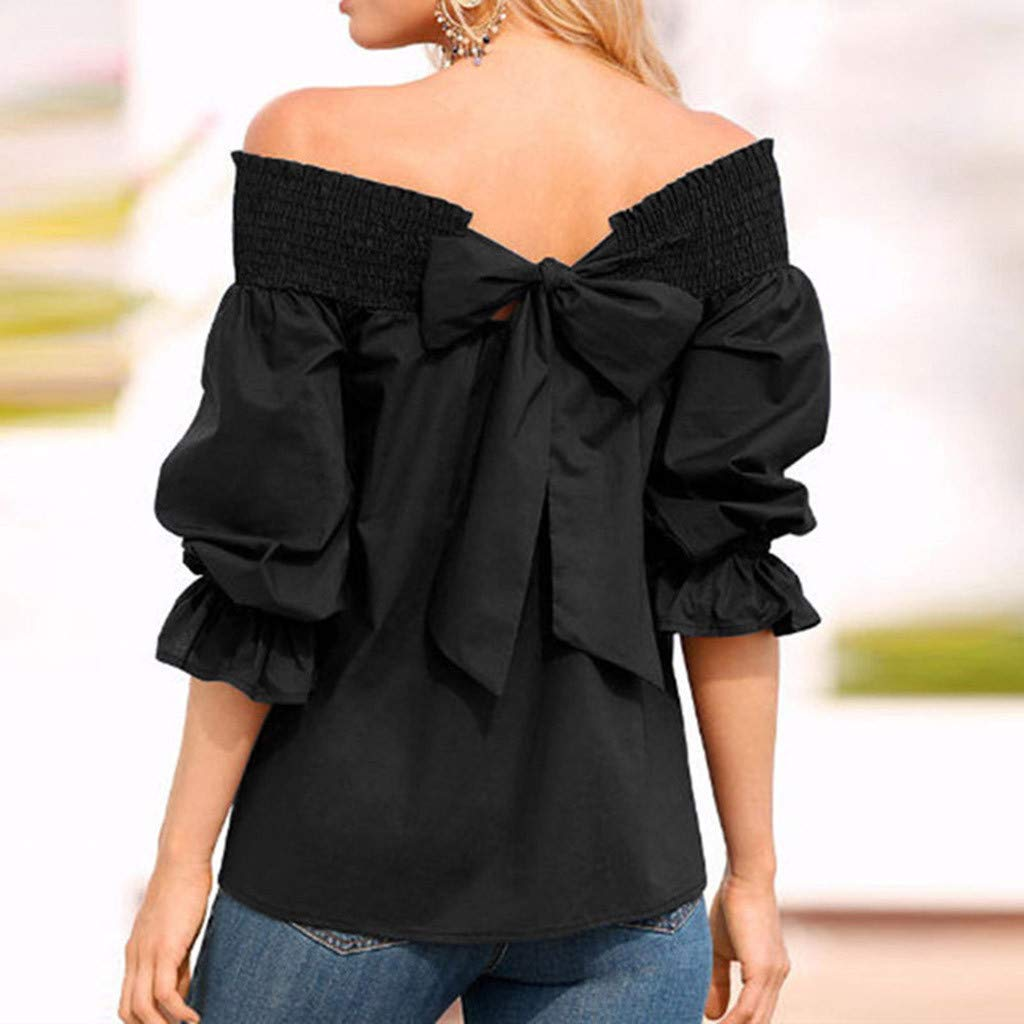 f79e97b8 Off Shoulder Puff Sleeve Top, Duseedik Women Off Shoulder T-Shirts Top Puff Sleeve  Bow Bandage Blouse at Amazon Women's Clothing store: