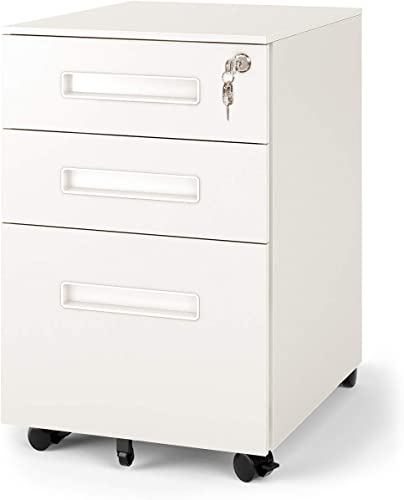 DEVAISE 3-Drawer Mobile Pedestal File Cabinet with Lock, Legal Letter Size, White