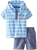 Kids Headquarters Baby Boys' Blue White Hoody Top with Shorts