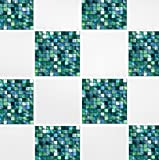 Pack of 10 Green Blue Mosaic 4'' x 4'' Tile Transfer Stickers Home Improvement Kitchen Bathroom