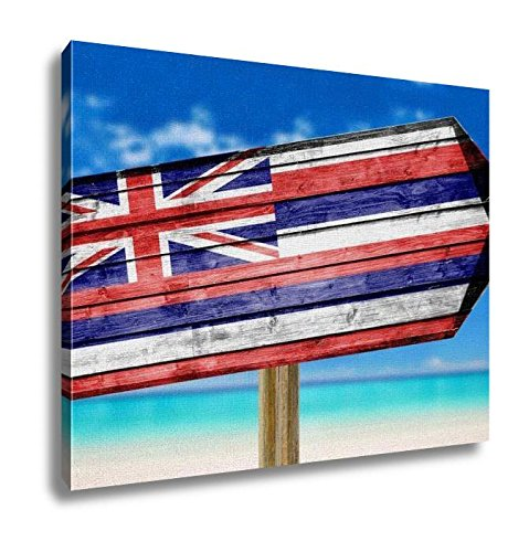 Ashley Canvas, Hawaii Flag Wooden Sign On Beach, Home Decoration Office, Ready to Hang, 20x25, AG6109612 by Ashley Canvas