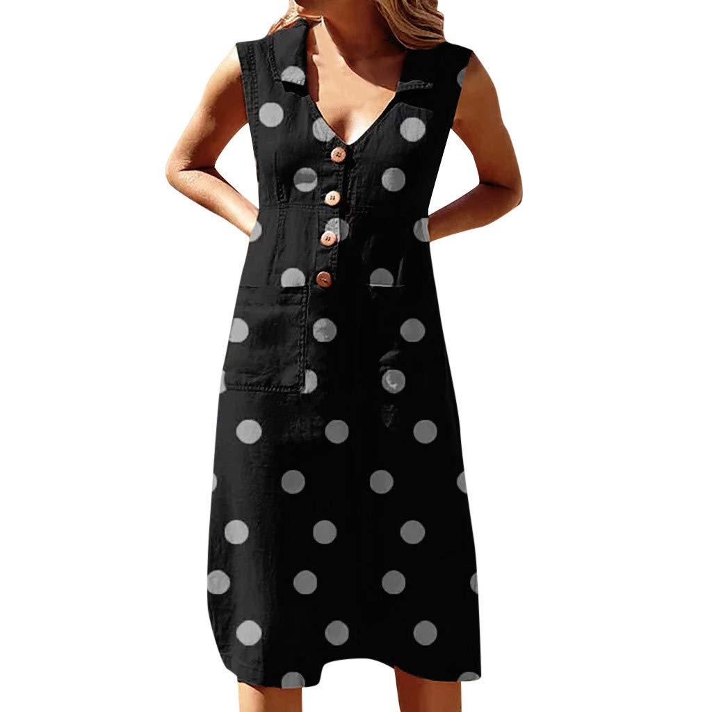 Vestidos Elegante de Mujeres ღSUNNSEANღ Vestidos de Lunares Faldas Largas Punto Impresión Boho V-Cuello Vestido de Bolsillo Vestido Casual de Onda con Botón de Solapa Vestidos sin Mangas Verano