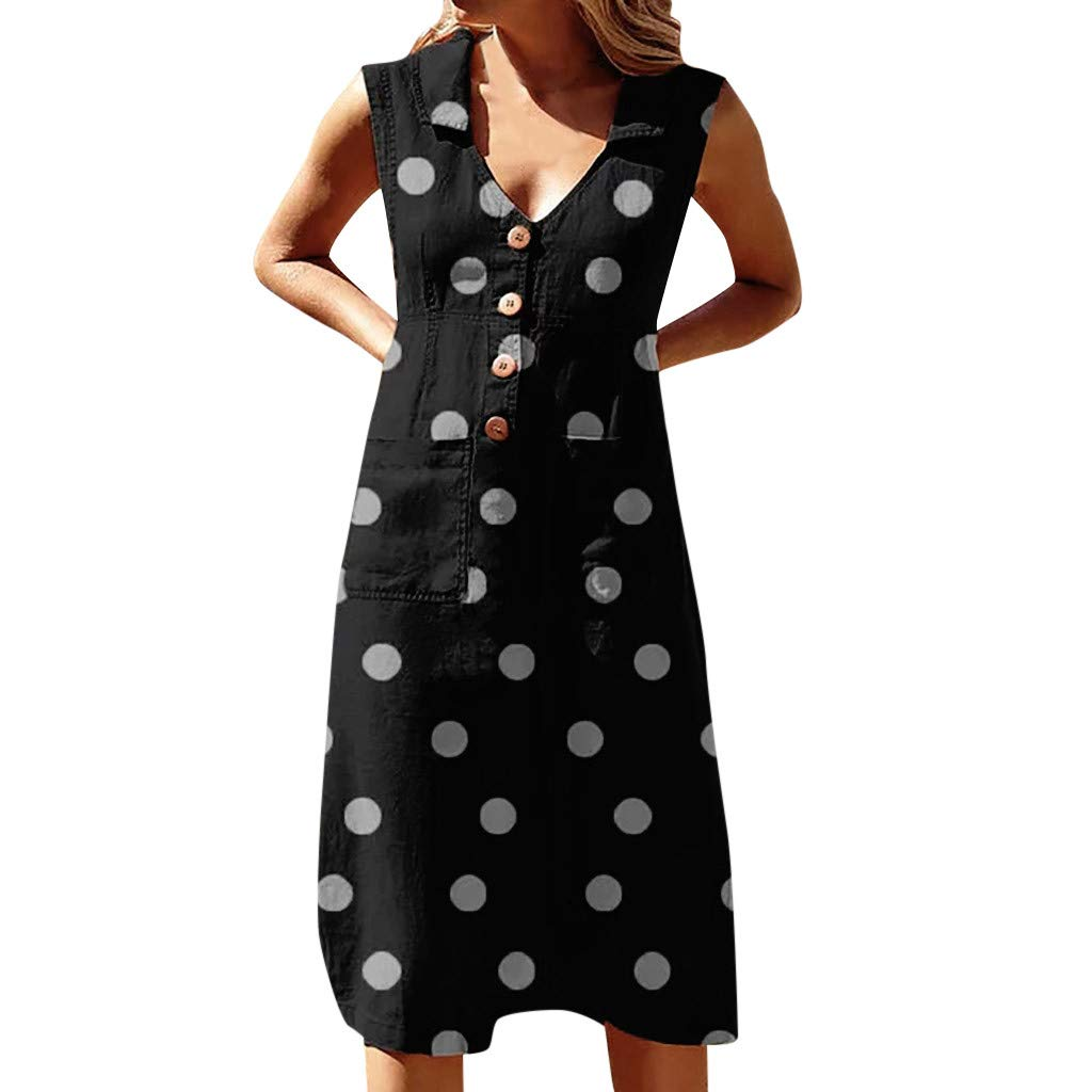 Cianjue Women's Elegant Dot Print Boho Dress,Turn-Down V-Neck Comfortable Dress with Button Pocket Knee Length Black