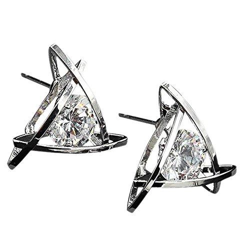 Gbell Women Fashion Crystal Earrings - Fine Elegant Rhinestone Square Ear Stud Earrings for Women Ladies Girls Wedding Party Date Anniversary Wearing Ball Jewelry Statement Gift