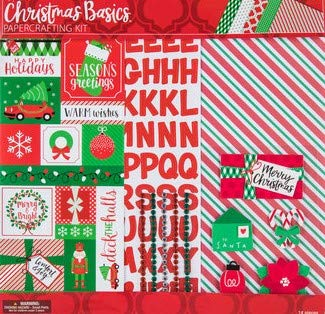 Christmas Basics 12x12 Scrapbooking Page Kit, 14 pcs, Ornaments, Wreaths, Bows, Nutcrackers, Gifts, Snowflakes
