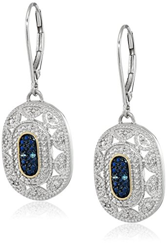 Sterling Silver and 14k Yellow Gold Blue and White Diamond Art Deco Leverback Earrings from Amazon Collection