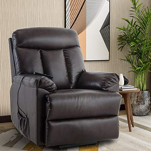 Heavy Duty Power Lift Recliner Sofa Chair Extra Large Living Room Chair Faux Leather with Remote Control (Brown) (Best Laptop For Elderly Parents)