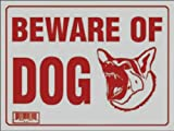 Beware of Dog Sign - Red on Off-White, 9 in. x 12 in.