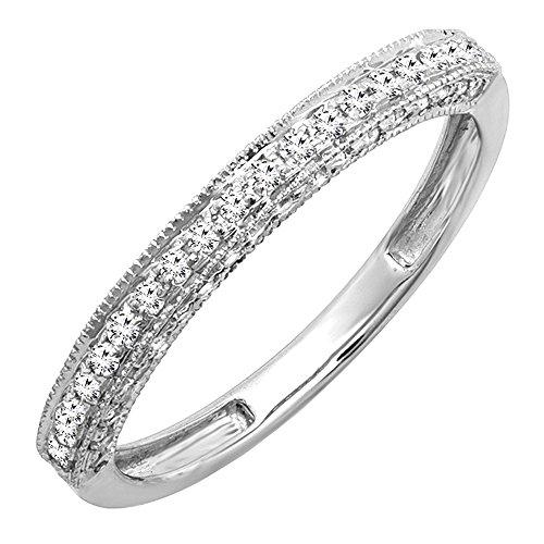 Dazzlingrock Collection 0.40 Carat (ctw) 14k Round Diamond Ladies Anniversary Wedding Band Enhancer Guard Ring, White Gold, Size 7