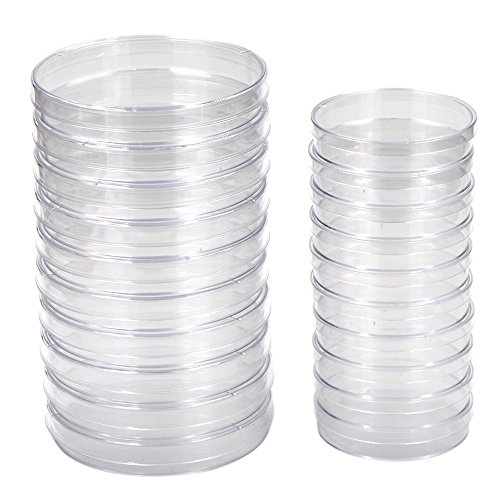 M-Aimee Lab Plastic Sterile Petri Dish with Lid,100 mm and 70 mm,Each Size for 10 pieces