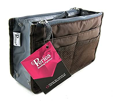Periea Handbag Organizer, Liner, Insert 12 Compartments - Chelsy (18 Colors, 3 Sizes) (Small, Brown)