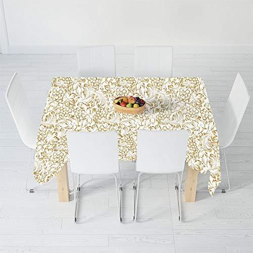 Invitations Grape Wedding - TecBillion Polyester Tablecloth,Kitchen Decor,for Wedding Banquet Restaurant,90.2 X 70.1 Inch,Golden Grape Vine Classic Victorian Pattern Invitation