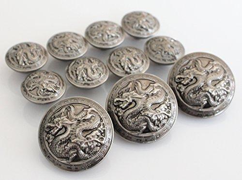 YCEE Premium New 11 Piece Vintage Antiqued Silver Metal Blazer Button Set - Dragon - For Blazer, Suits, Sport Coat, Uniform, (Silver Button Coat)