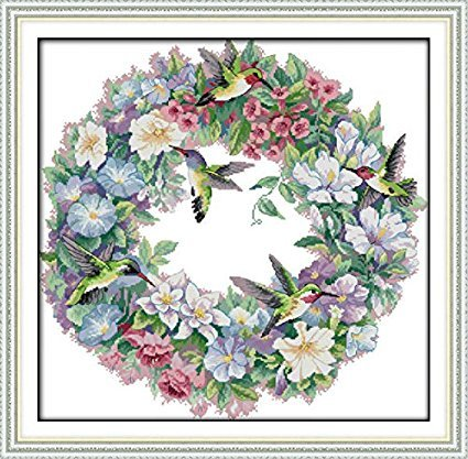 Counted Cross Stitch Kits The Art of Hummingbirds 14 Count 20.8''x 24.4'' DIY Needle Work for Home Decor by ZMVA