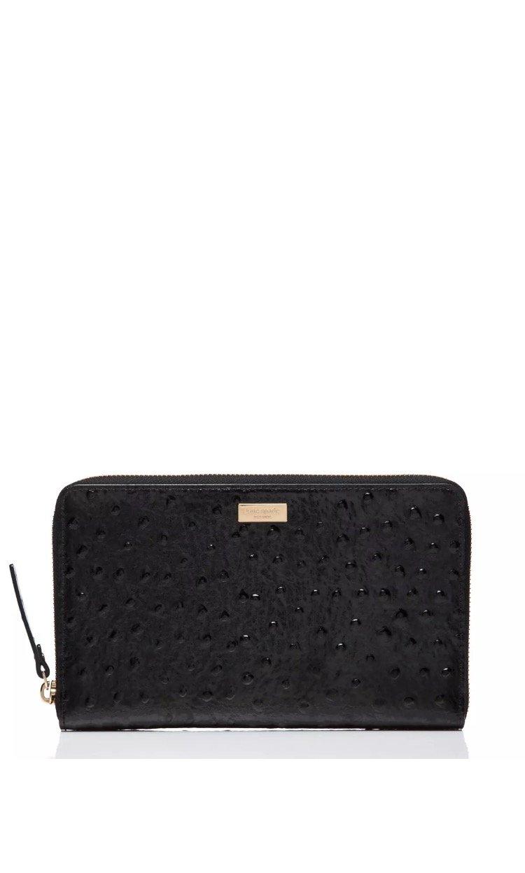 Kate Spade NY - Black Knightsbridge Ostrich Zip Travel Wallet wristlet by Kate Spade New York
