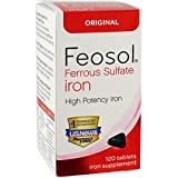 Feosol Iron Supplement, Original formula, Ferrous Sulphate 325 mg, 65 mg elemental iron, 120 Count
