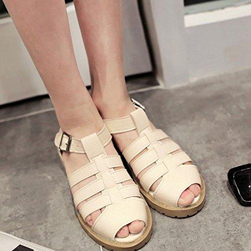 SJJH b Large Sandals Women Heel Low with Roman Beige and z0zwxBrg