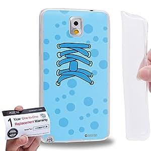 Case88 [Samsung Galaxy Note 3] Gel TPU Carcasa/Funda & Tarjeta de garantía - Art Fashion Cyan Sneakers Art2539
