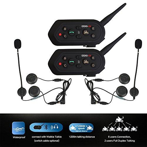 Rayhome 2-Pack E6 BT 1200M Bluetooth Motorcycle Helmet Intercom Interphone Headset for MP3 GPS FM Radio Walkie-Talkie Water Resistant Waterproof Motorbike intercom Headphone System 6 riders by EJEAS