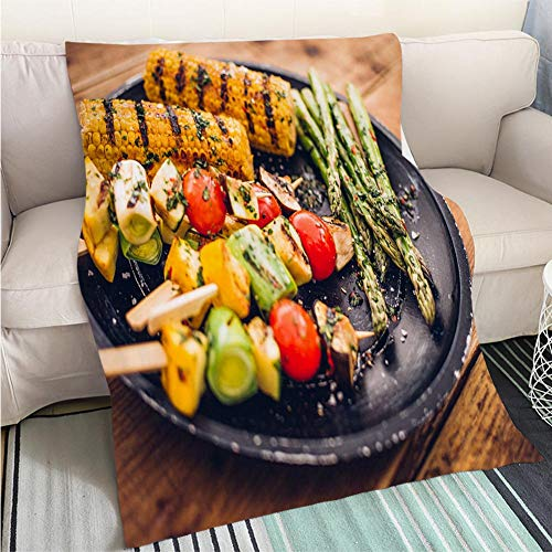 Super Soft Flannel Thicken Blanket Delicious Selection of Grilled Vegetable Kebabs Corn and Asparagus Perfect for Couch Sofa or Bed Cool ()