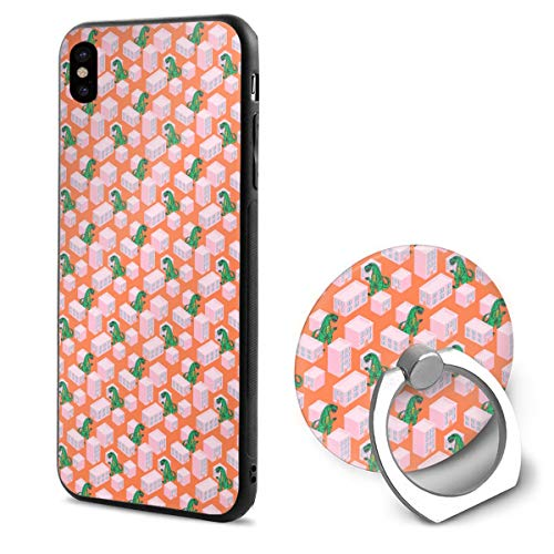 Ultra Thin iPhone X Case Dino Monster in Night City Pink Anti Scratch iPhone Xs Cover with 360¡« Rotating Ring Holder Stand for Magnetic Car Mount Holder Case Compatible with -