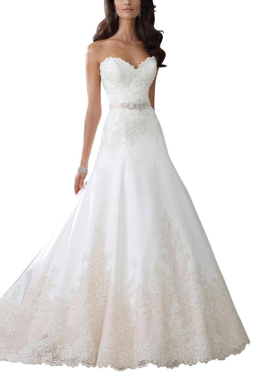 GEORGE BRIDE A line Sweetheart Neckline Lace Wedding Dress