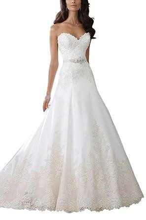 Sweetheart Neckline Wedding Dress.George Bride A Line Sweetheart Neckline Lace Wedding Dress Amazon