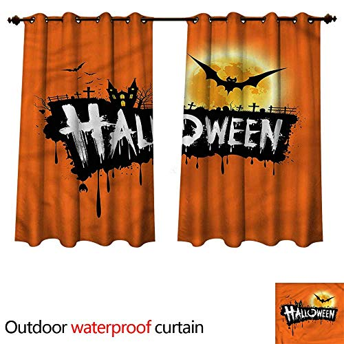 cobeDecor Halloween 0utdoor Curtains for Patio Waterproof Spooky Party Bats Festive W63 x L72(160cm x 183cm) ()