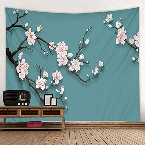 BROSHAN Nature Flower Tapestry, Asian Japanese Cherry Blossom Flower Tree Branch Print on Teal Green Backdrop Fabric Wall Hanging for Bedroom Living Room Dorm,1 Panel, Pink Black Cyan, 52