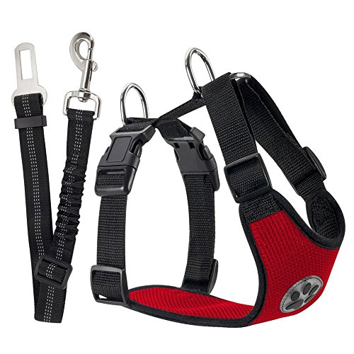 SlowTon Dog Car Harness Plus Connector Strap, Multifunction Adjustable Vest Harness Double Breathable Mesh Fabric with Car Vehicle Safety Seat Belt .(Red, Large)