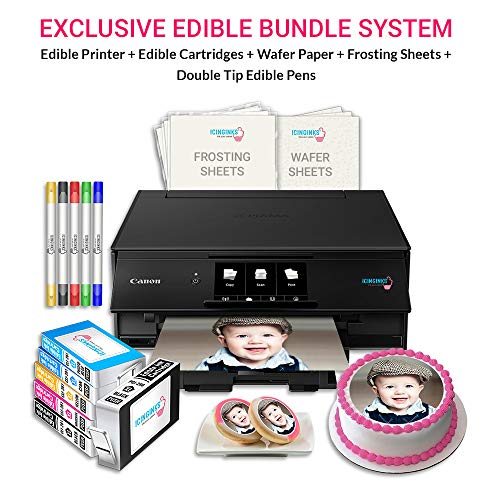 (Icinginks Edible Printer Art Package - Comes With Edible Printer, Edible Cartridges, Wafer Paper, Frosting Sheets, Set of 5 Double Tip Edible Markers - Best Cake Image Printer, Canon Edible Printer)