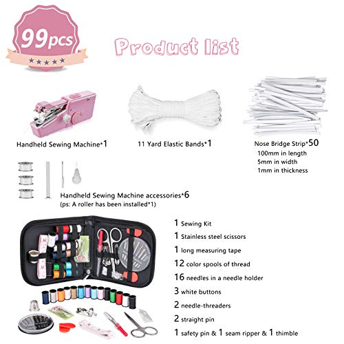 Handheld Sewing Machine Mini Sewing Machine Portable Sewing Machine Cordless Electric Sewing Machine Quick Repairing Suitable for Home Travel, Clothes, Cloth, Curtain, Pet Clothes, DIY Sewing Kit 99 PCS