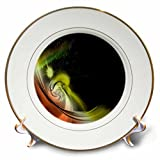 3dRose Fractal Abstracts - Image of Fractal Red Yellow Black Solar System In Space - 8 inch Porcelain Plate (cp_273395_1)