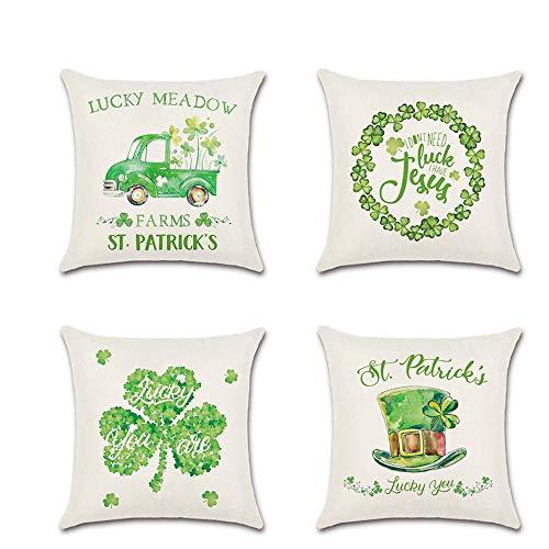 "4 Pcs St. Patricks Day Decorations Pillow Covers 4 Pcs Cushion Cover 18"" x 18"" Shamrock Clover Pillowcase (Lgreen)"