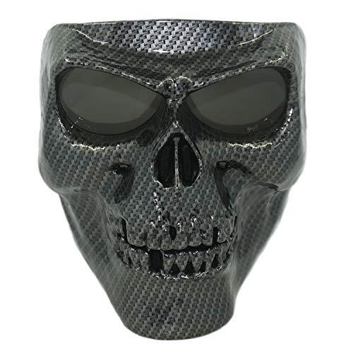 Vhccirt - Máscara para Casco de Motocicleta, diseño de Calavera, para Halloween, Fibra de Carbono Negra