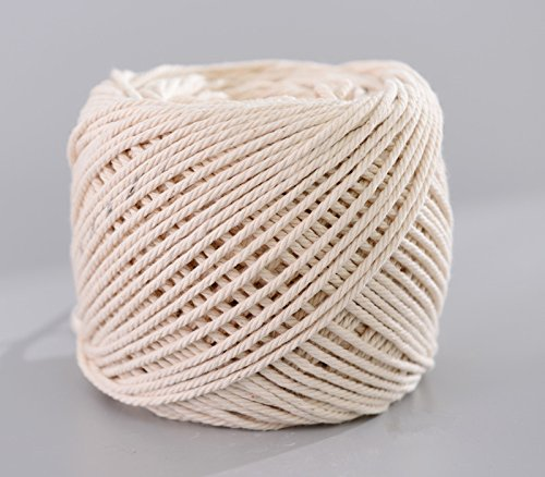 (2mm x 200m(about 218 yd)) Handmade Decorations Natural Cotton Bohemia Macrame DIY Wall Hanging Plant Hanger Craft Making Knitting Cord Rope Natural Color Beige