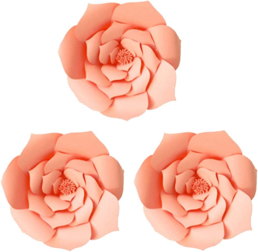 Daily Mall Paper Flower Decorations Giant Wedding Flowers Party Flower Backdrop DIY Handcrafted Flower for Nursey Birthday Wall Decor (Pink, 3pcs-12)