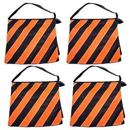 SouthbayCamera Orange SADDLEBAG SANDBAGS 4 NEW SAND BAGS HEAVYDUTY SADDLE BAG HOLDS 20LBS WEIGHT BAGS FOR PHOTO VIDEO STUDIO STAND
