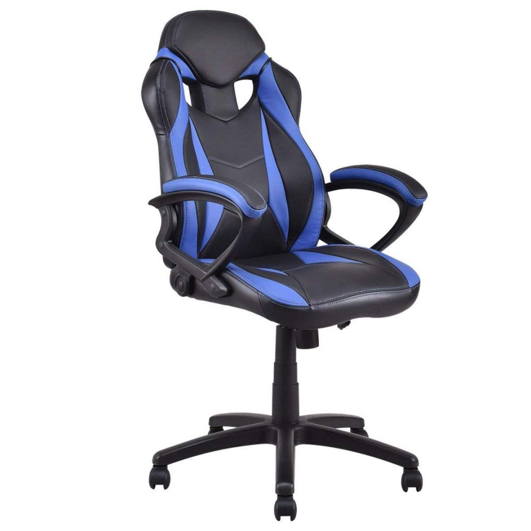 Modern Style High Back Gaming Chairs 360-Degree Swivel Design Desk Task PU Leather Upholstery Thick Padded Seat Posture Support Home Office Furniture - (1) Blue/Black #2123 by KLS14