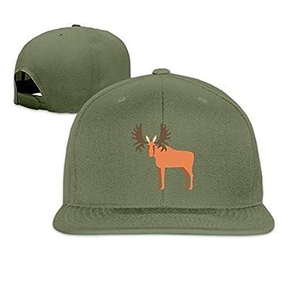 Cartoon Elk Washed Unisex Adjustable Flat Bill Visor Dad Hat from loejrfw