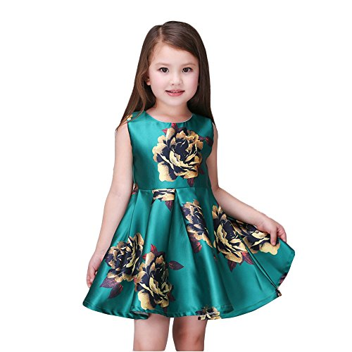 Kidscool Little Girls Sleeveless Yellow Rose Print Green Princess Dress