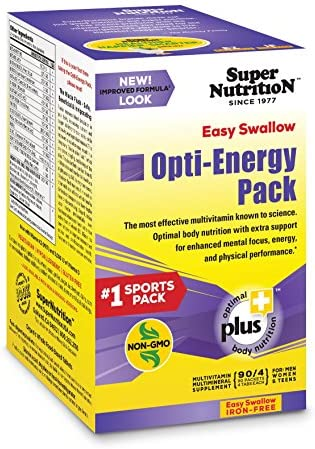 Super Nutrition, Opti-Energy Pack, EZ Swallow, Iron-Free, High Potency Multi-Vitamin, 90 Packets