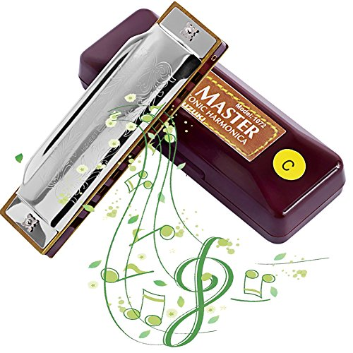 Bass Blues Harmonicas (AINIMO Suzuki Blues Harmonica, Deluxe Diatonic 10-Hole Harp, Mini Mouth Organ, Key in C Harmonica for Beginner with Case)