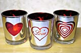 Banberry Designs Heart and Love Candles - Set of 3 Silver Metallic Votive Candle Holders - 3 White Flameless Tealights Included