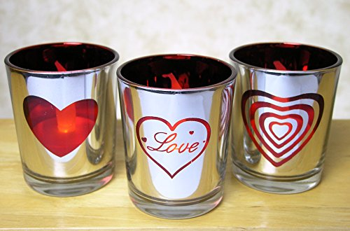 Glass Votive Candle Holders Metallic Silver & Red with Word Love and Heart Shapes - Set of 3 Assorted - Three Flameless Flickering LED Tealights Included